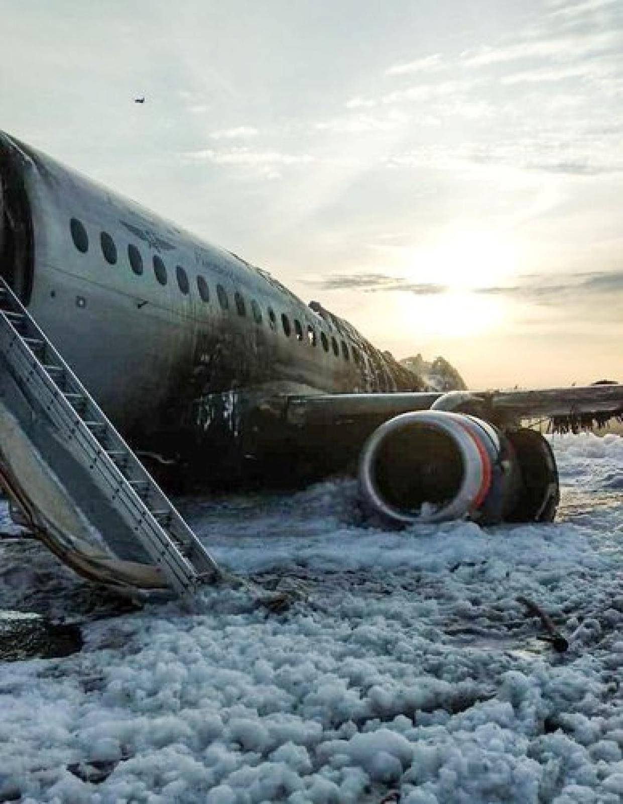A view shows a damaged Aeroflot Sukhoi Superjet 100 passenger plane after an emergency landing at Moscow's Sheremetyevo airport
