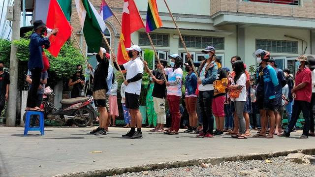 FILE PHOTO: Demonstrators march to protest against the military coup, in Dawei