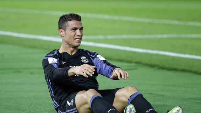 Real Madrid's Cristiano Ronaldo after sustaining an injury