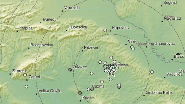 Potres jačine 2,3 po Richteru pogodio bjelovarsko područje