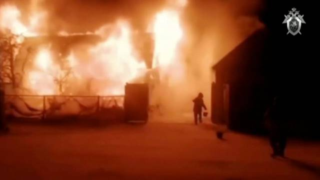 A view shows a retirement home on fire in Ishbuldino