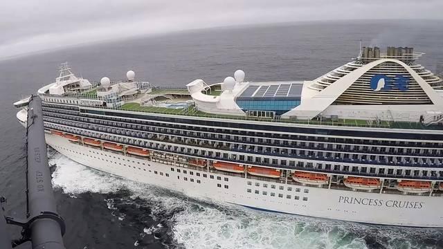 Grand Princess cruise ship circles off the coast of California