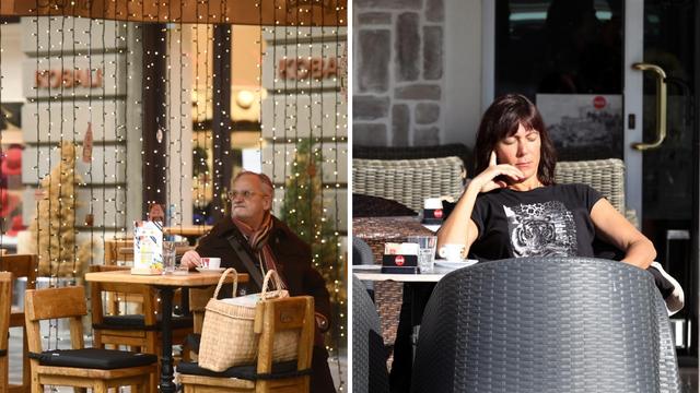 Šibenčani ispijaju zadnju kavu na suncu, zagrebačke terase su poluprazne zbog hladnoće
