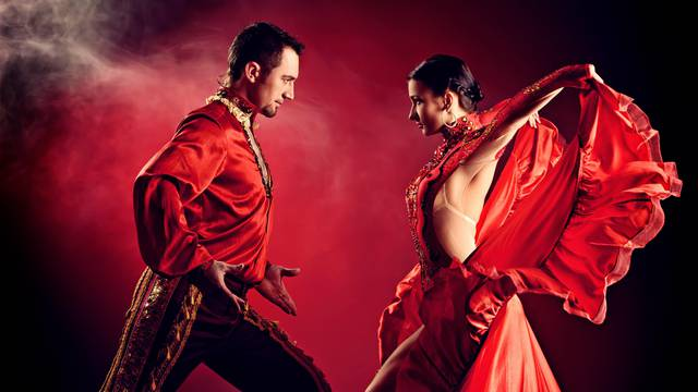 Professional dancers perform latino dance. Passion and expressio