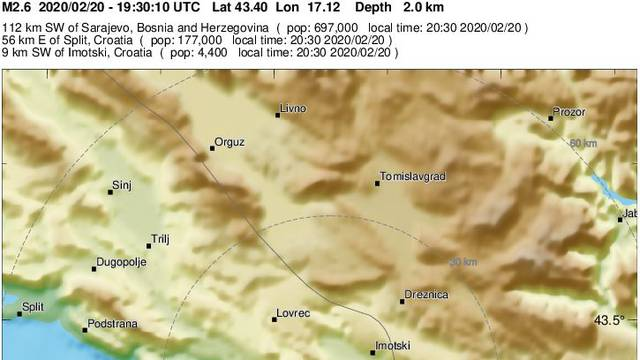 Potres u Dalmaciji: Treslo se od Zagvozda do Imotskog