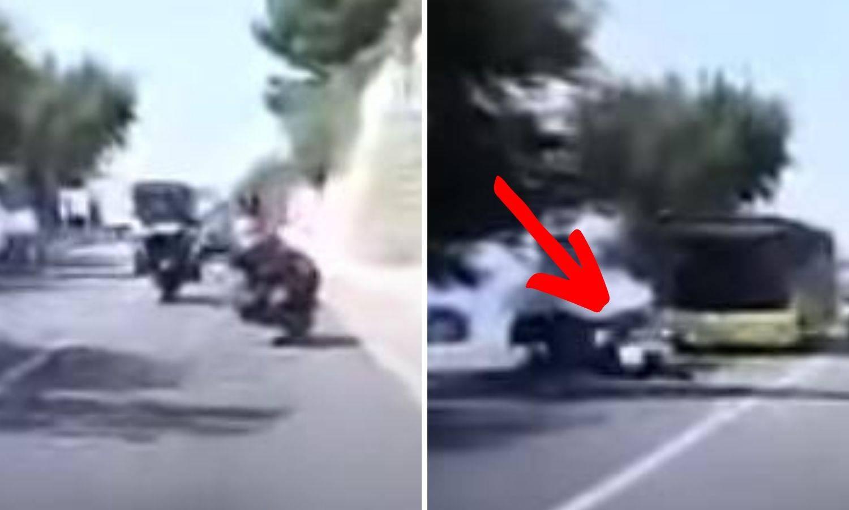Video: Uh, ovo je bilo za dlaku! Vozač busa izbjegao motorista