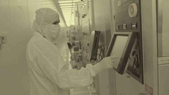 Handout photo of Workers seen inside IBM's semiconductor research center in Albany, New York