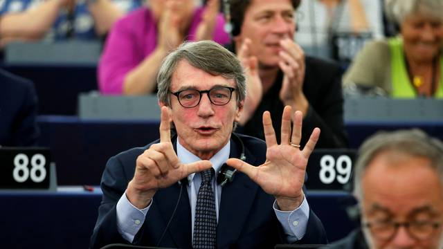 Italian MEP David-Maria Sassoli (S&D Group), candidate for the presidency of the European Parliament, reacts after the restults of the first round vote to elect the new president of the European Parliament in Strasbourg