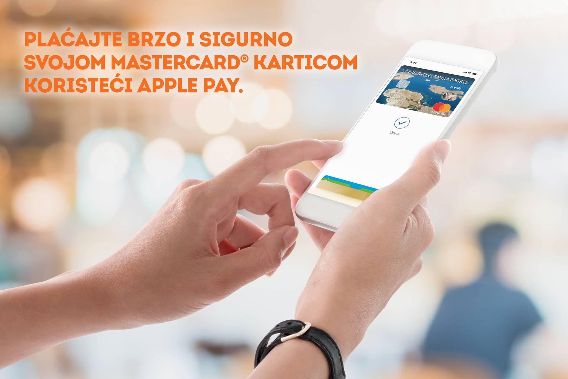 Woman hands holding and using smartphone with bill payment scree