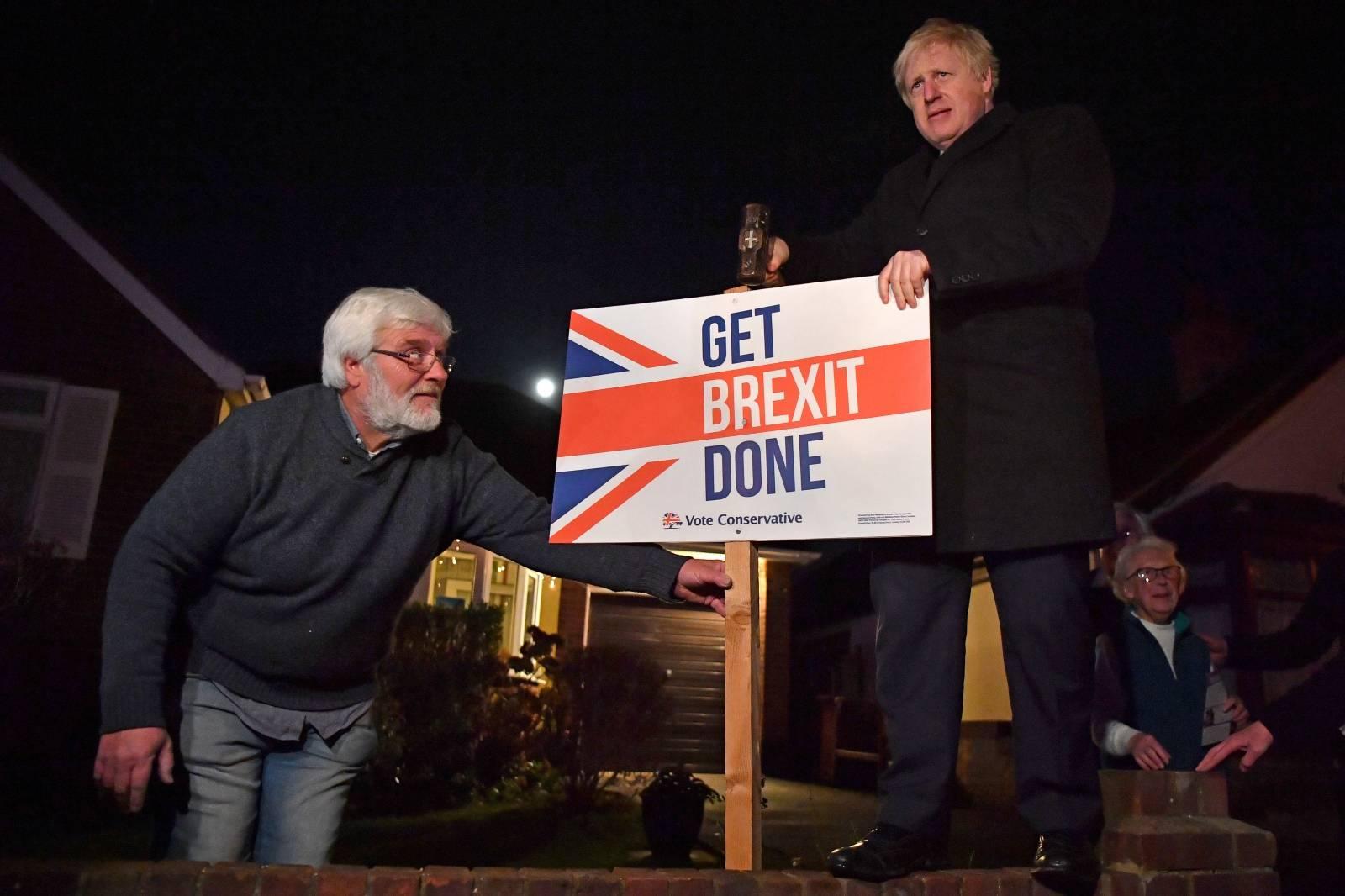 Britain's Prime Minister Boris Johnson campaigns in South Benfleet