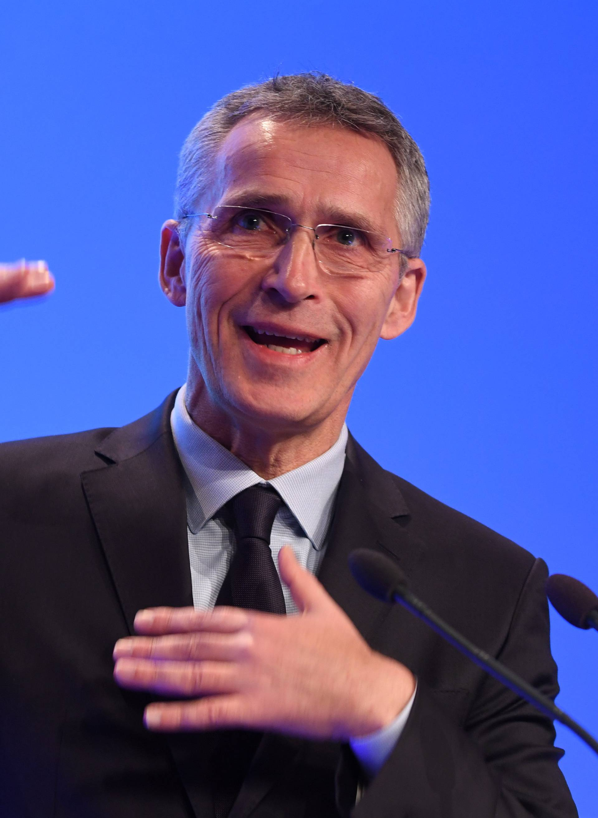 "NATO Secretary General Jens Stoltenberg delivers a keynote speech at the ""Folk och Forsvar"" security conference in Salen, Sweden"