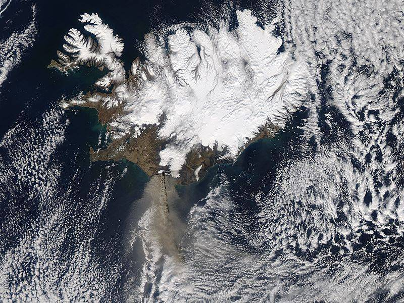 Satellite image of ash cloud over Iceland