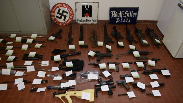 Italian Police handout shows weapons seized in raids on neo-Nazi sympathisers, in Turin