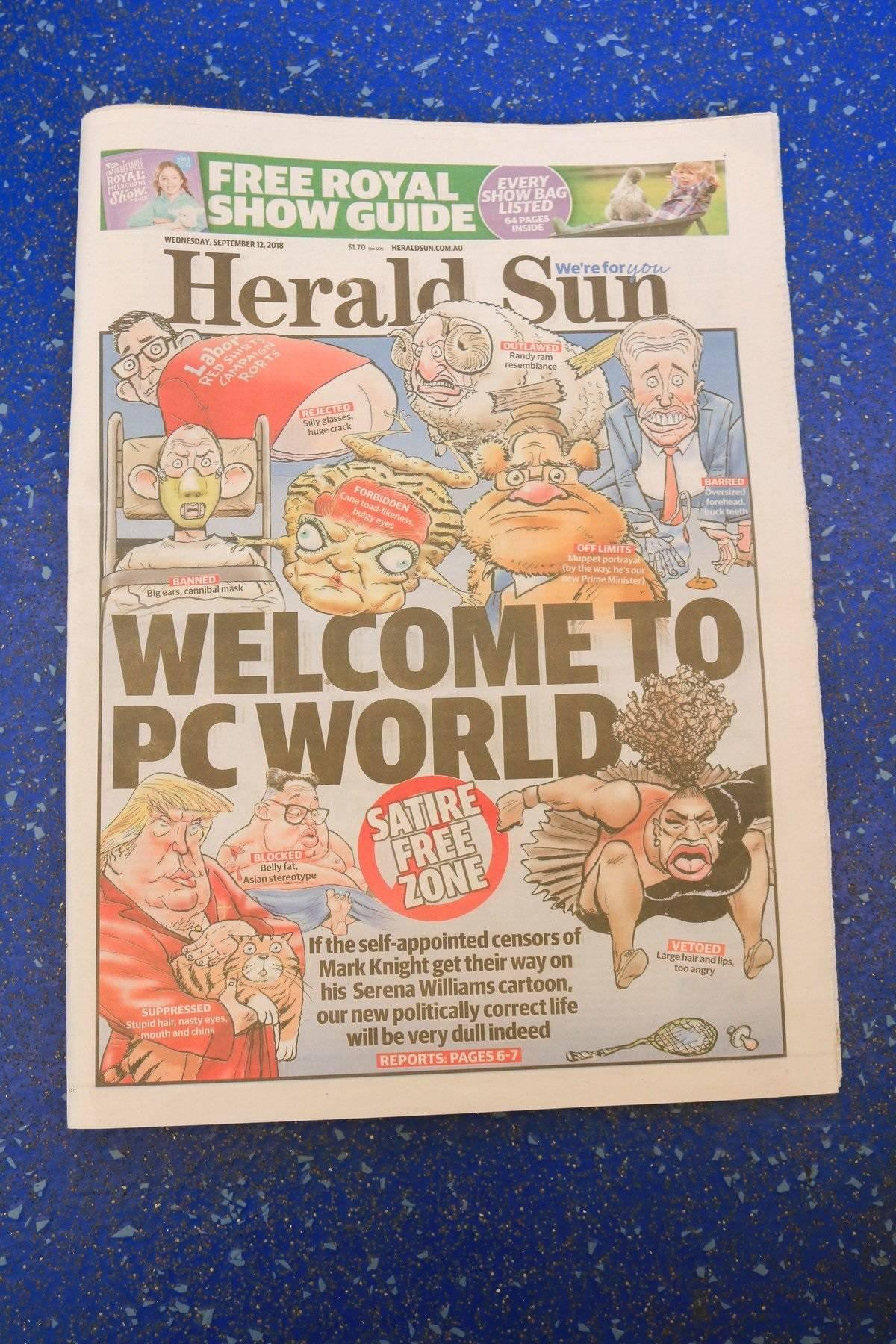 Herald Sun Responds to Serena Williams Cartoon, Adelaide, Australia - 12 Sep 2018
