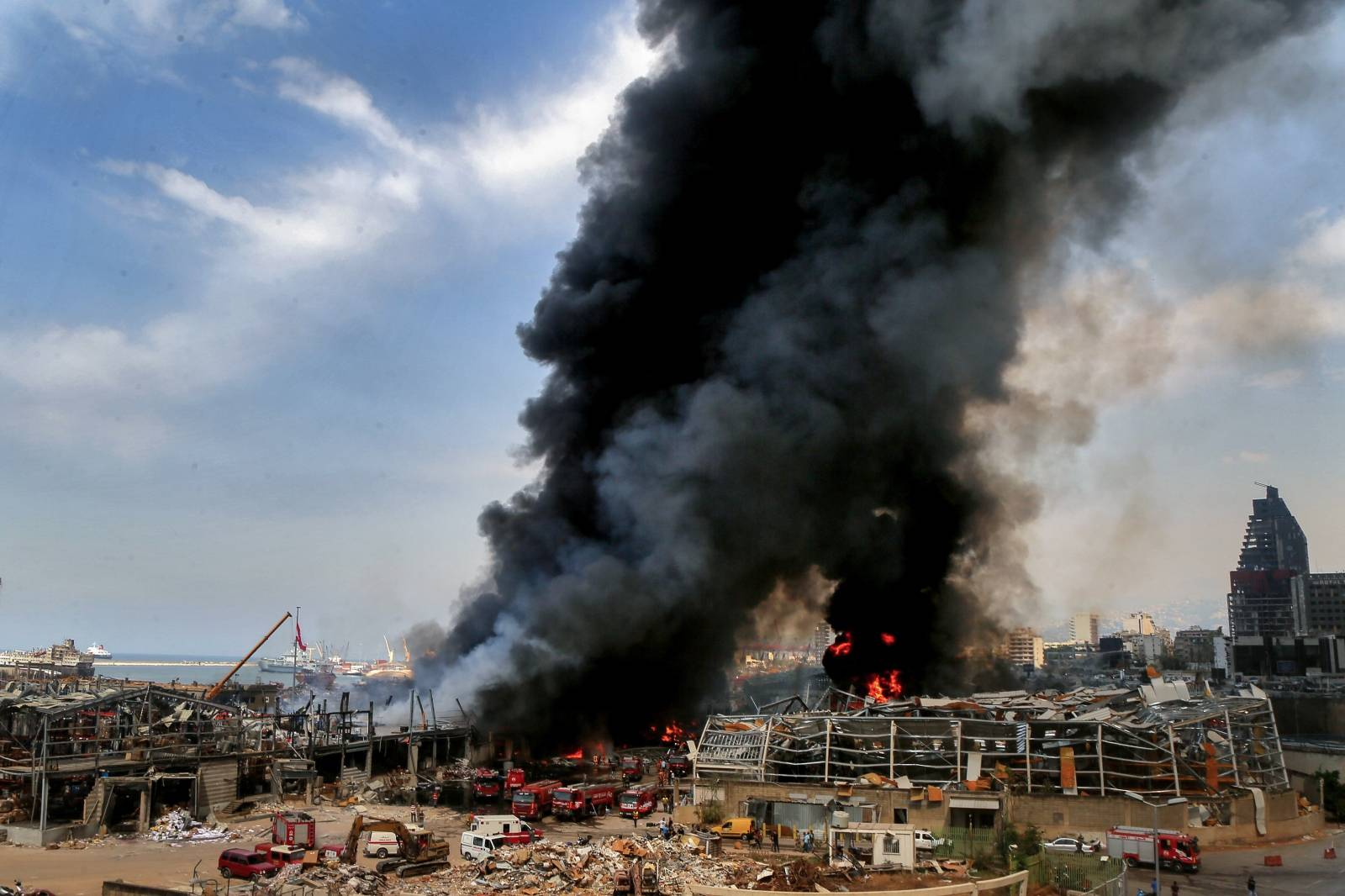 Fire erupts at seaport warehouse in Beirut