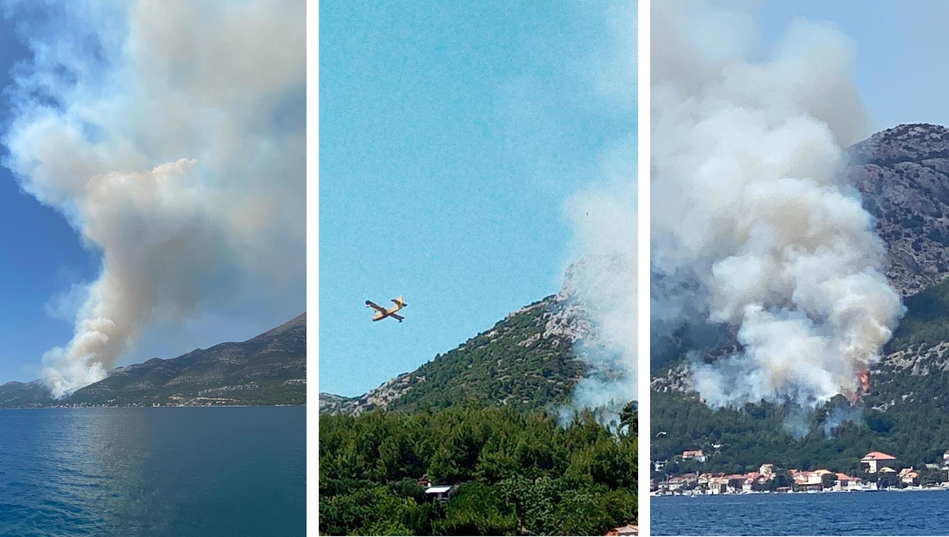 Gori na Pelješcu: Tri kanadera gase požar, turisti u panici