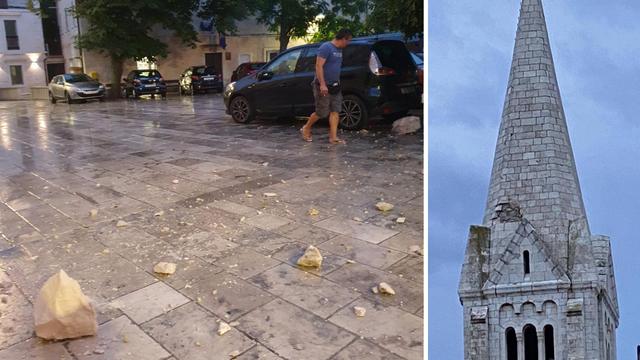 Nevrijeme pogodilo Brač, udar groma oštetio toranj crkve u Selcima. Župnik: Bilo je strašno