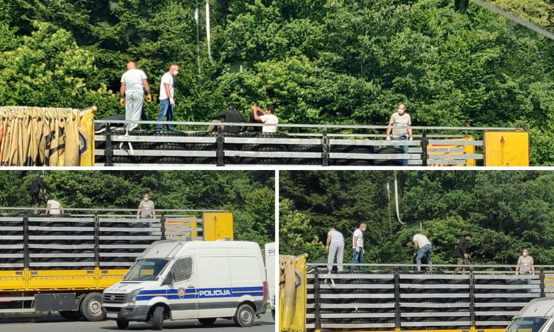 Sakrili se među gumama: Na Maclju pronašli četiri migranta