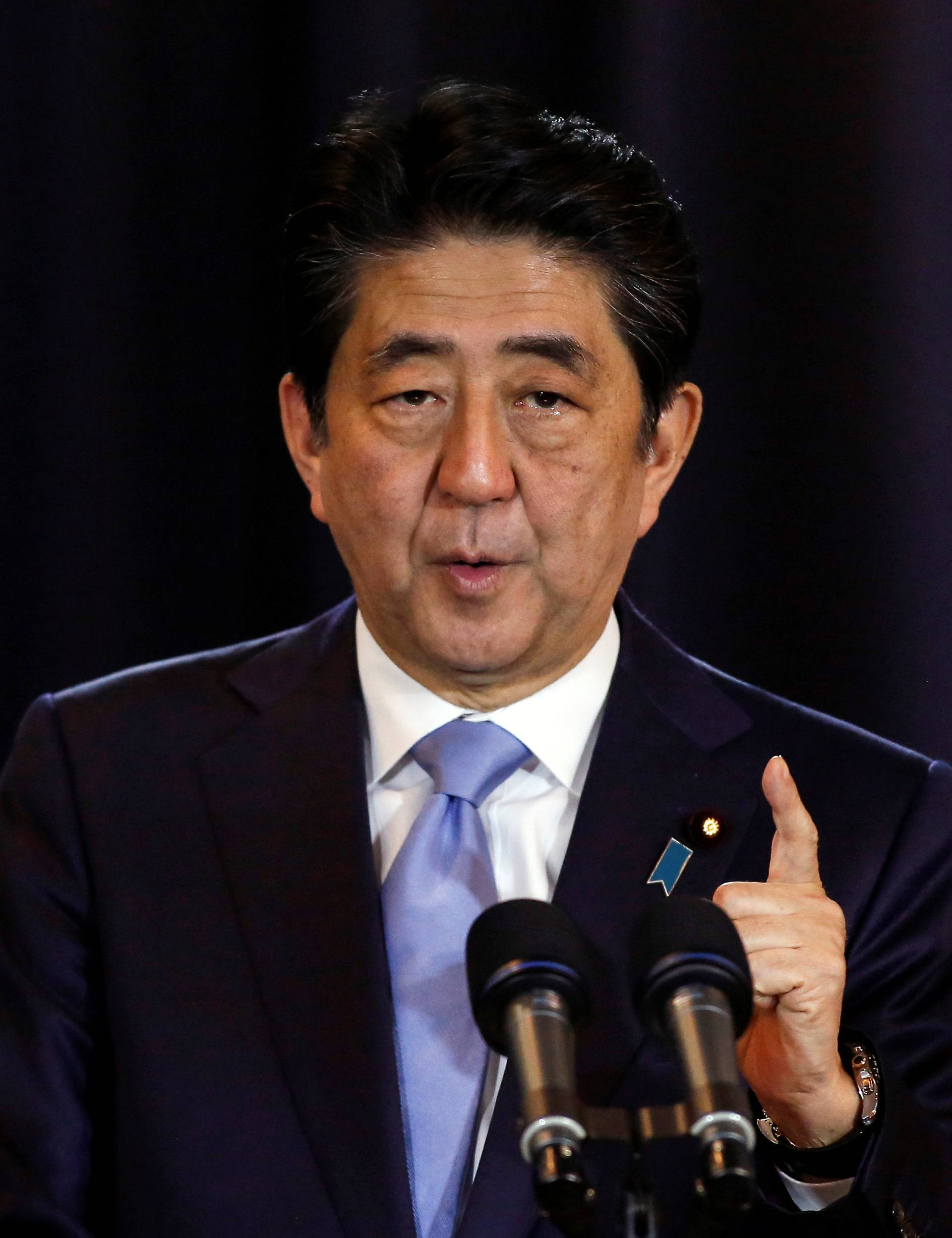 Japanese PM Shinzo Abe gestures during a press conference in Buenos Aires, Argentina