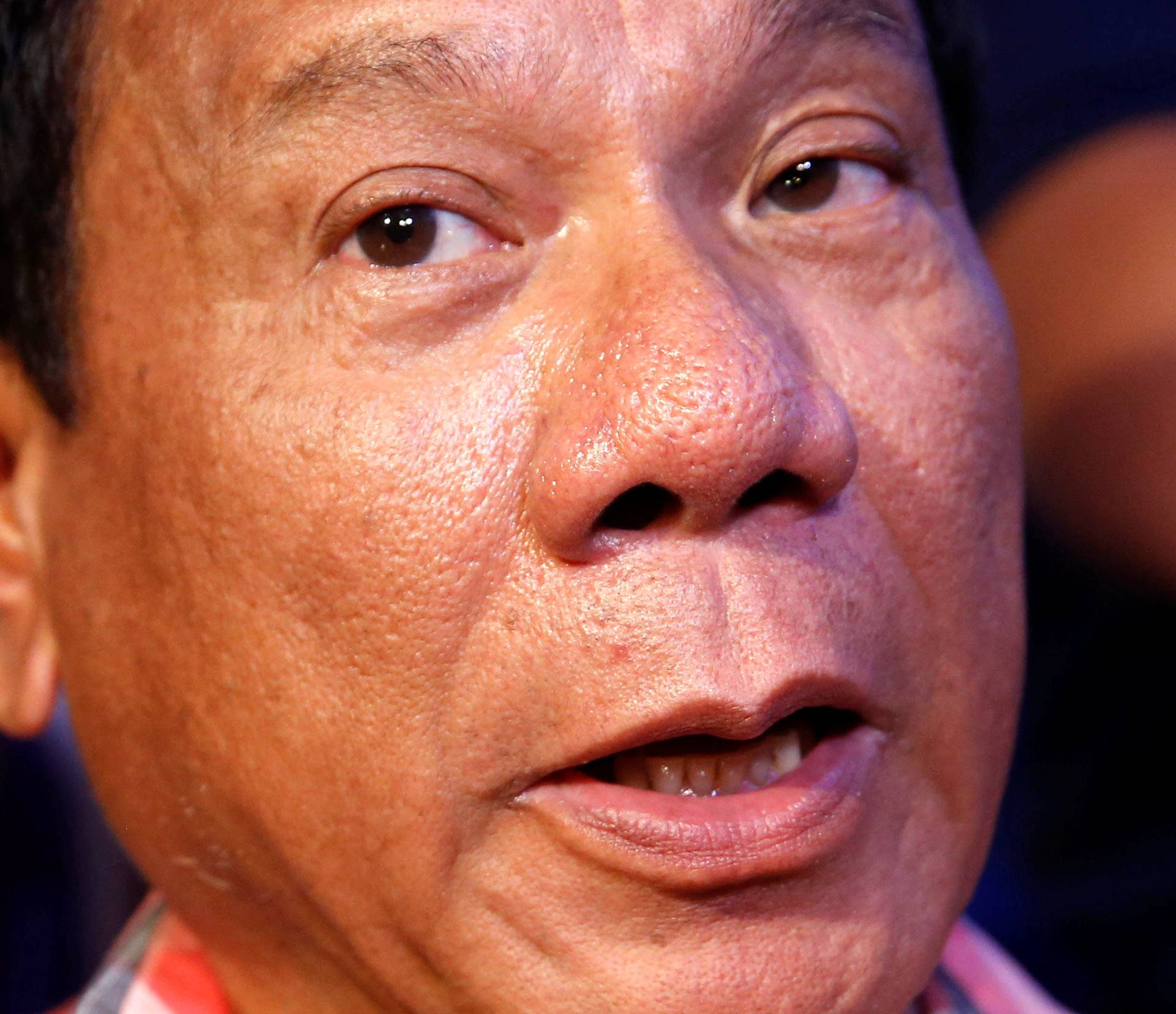 """Leading presidential candidate Rodrigo """"Digong"""" Duterte on yesterday's national elections speaks to reporters in Davao"""