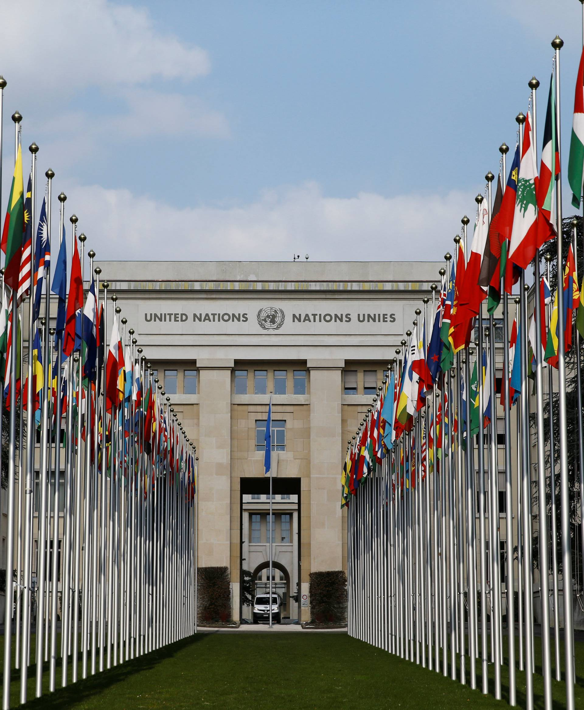 Flags are pictured outside the United Nations in Geneva