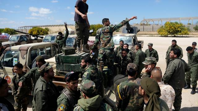 Libyan National Army (LNA) members, commanded by Khalifa Haftar, head out of Benghazi to reinforce the troops advancing to Tripoli, in Benghazi