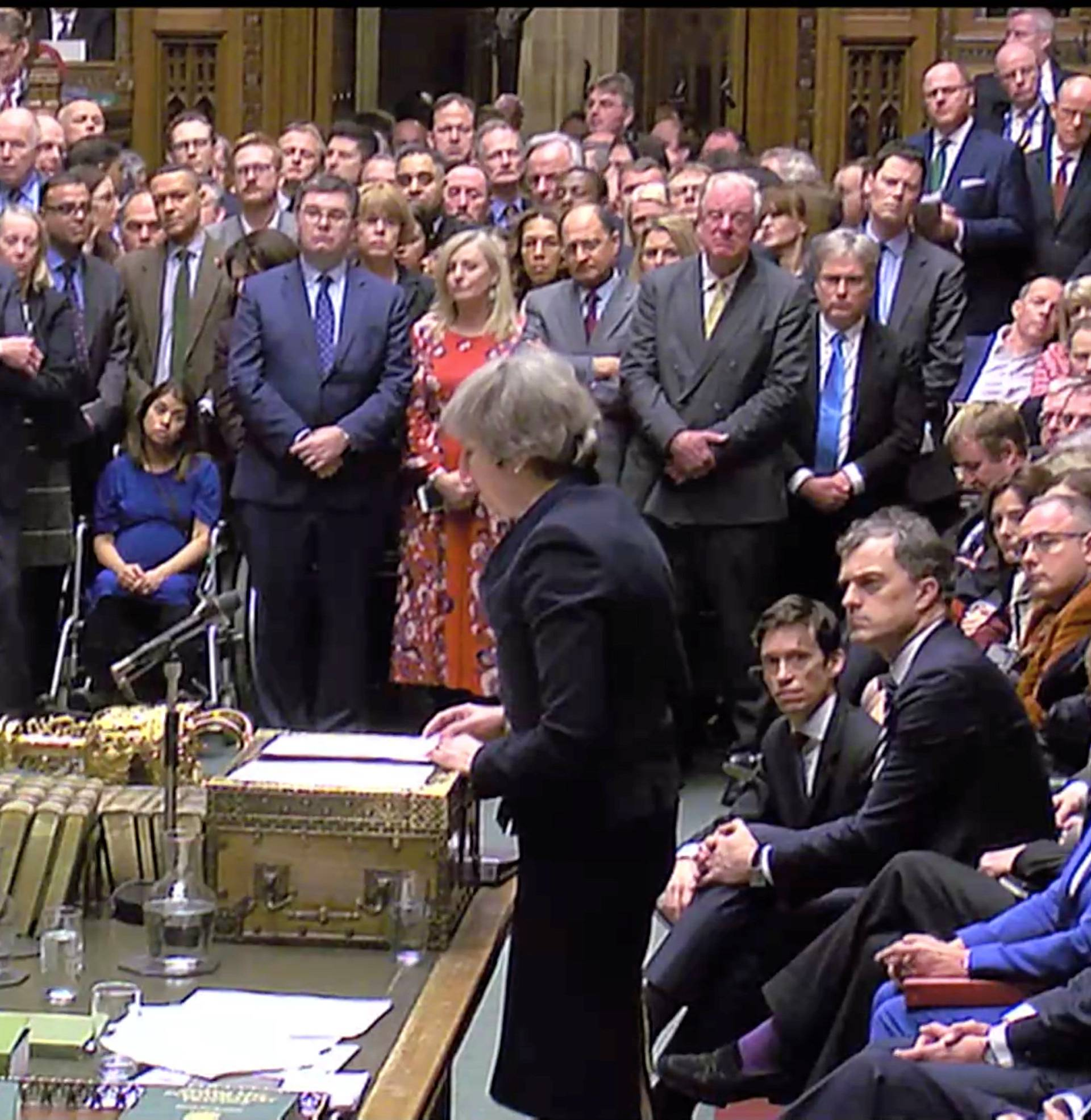 Prime Minister Theresa May addresses Parliament after the vote on May's Brexit deal, in London