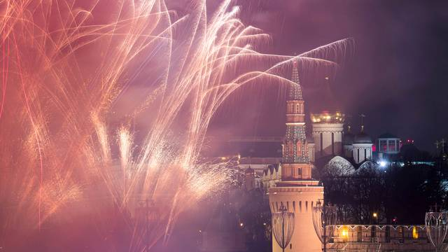 Fireworks explode in the sky during New Year's celebrations in Moscow