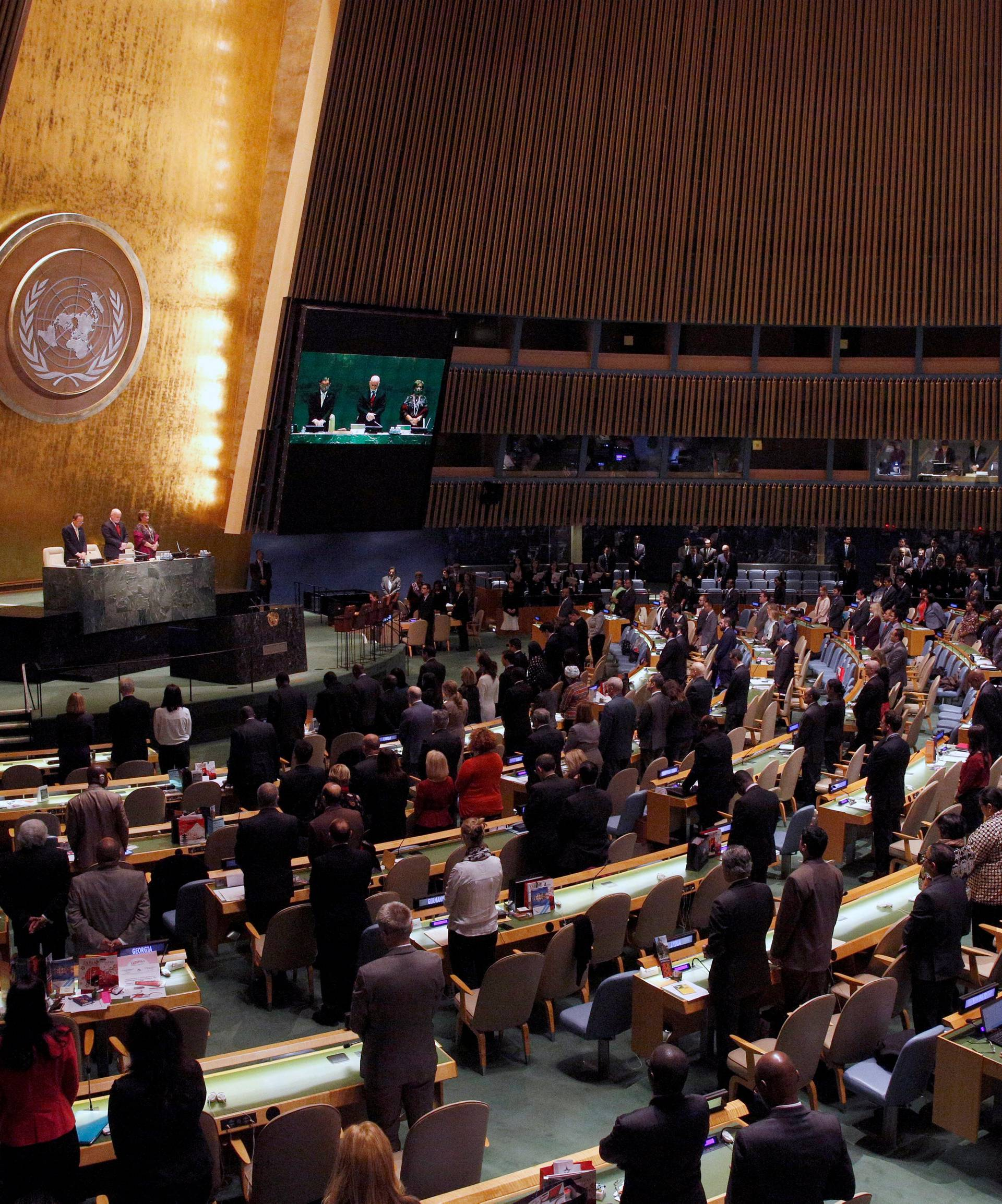 United Nations General Assembly observes a moment of silence during a tribute to the late King of Thailand Bhumibol Adulyadej