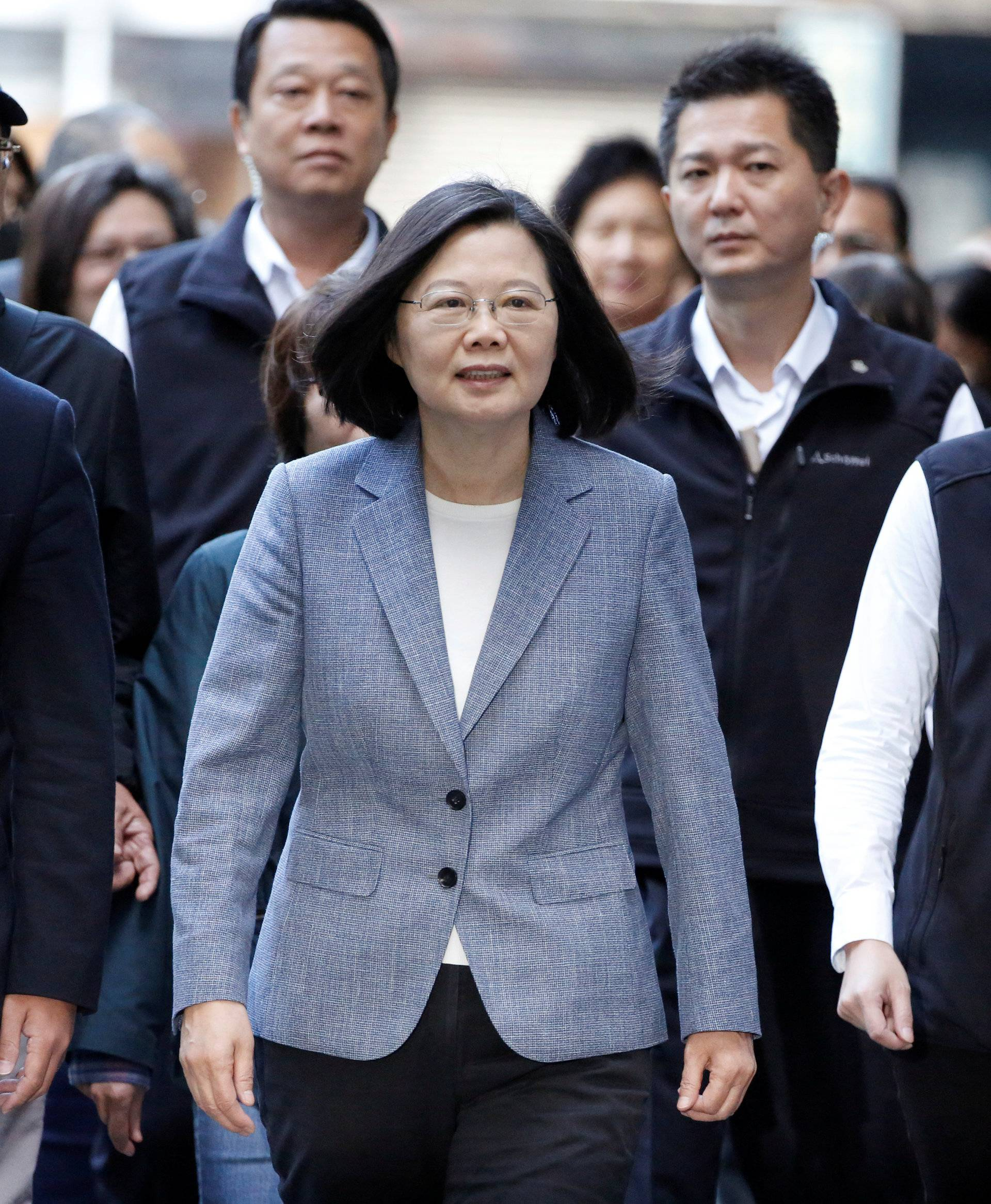 Taiwan President Tsai arrives to cast her vote for the local elections in New Taipei City