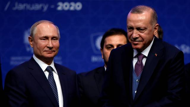Turkish President Tayyip Erdogan and Russian President Vladimir Putin attend a ceremony marking the formal launch of the TurkStream pipeline which will carry Russian natural gas to southern Europe through Turkey