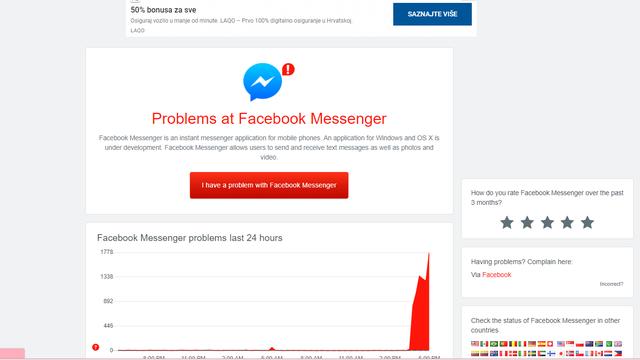 Korisnici se žale da ne mogu slati poruke na Facebooku