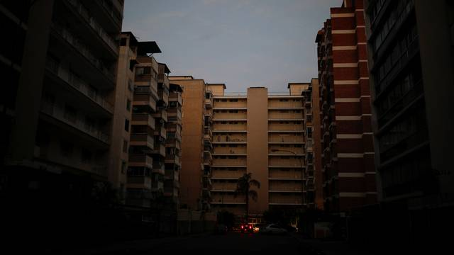 A general view of a street during a blackout in Caracas