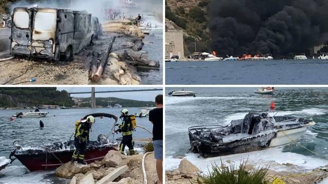 VIDEO Požar kod Dubrovnika: Gorjele brodice, jedan kombi, automobili, crni dim je posvuda