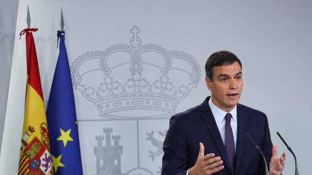 Spain's acting Prime Minister Pedro Sanchez delivers a statement after Spain's Supreme Court announcement on the verdict in the high stakes trial of Catalan separatist leaders over a banned independence referendum at Moncloa Palace in Madrid