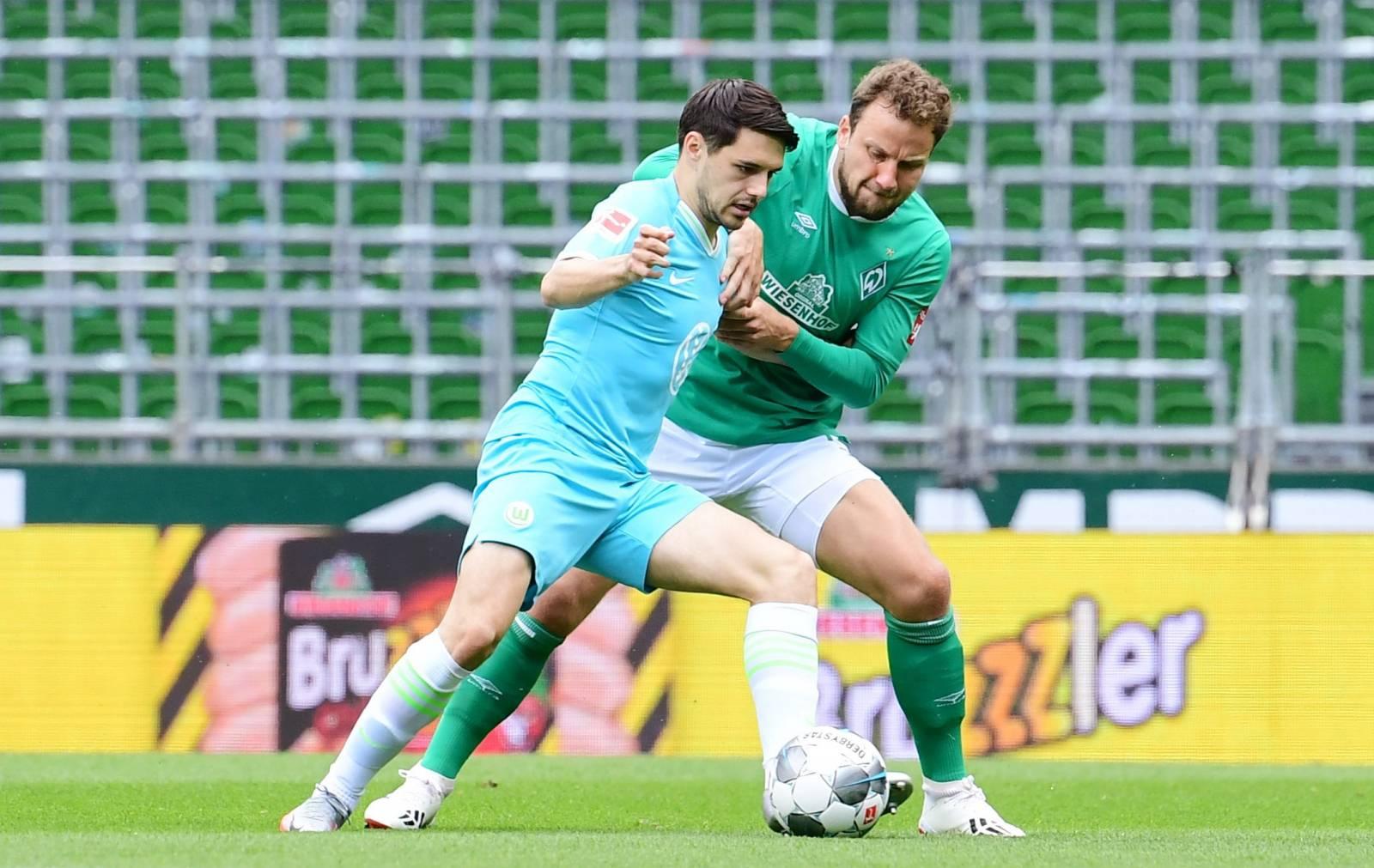 firo, football: 07.06.2020 1.Bundesliga, season 19/20 2019/2020 30th matchday: SV Werder Bremen - VfL Wolfsburg