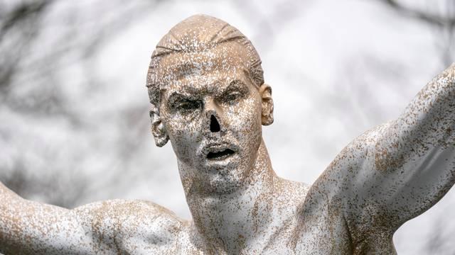 Vandalized Zlatan Ibrahimovic statue is seen in Malmo