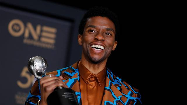 FILE PHOTO: 50th NAACP Image Awards – Photo Room– Los Angeles - Chadwick Boseman poses backstage with his Outstanding Actor in a Motion Picture award for Black Panther