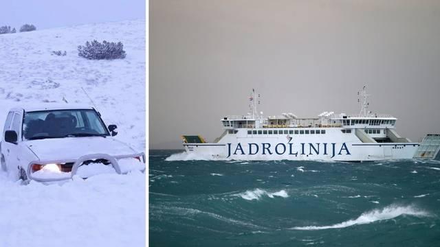 Kaos u Splitu: Zbog nevremena ne plove trajekti, na Dinari auto ostao zarobljen u snijegu