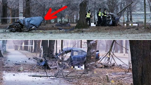 BMW-u je motor probio haubu i izletio 20-ak metara na livadu
