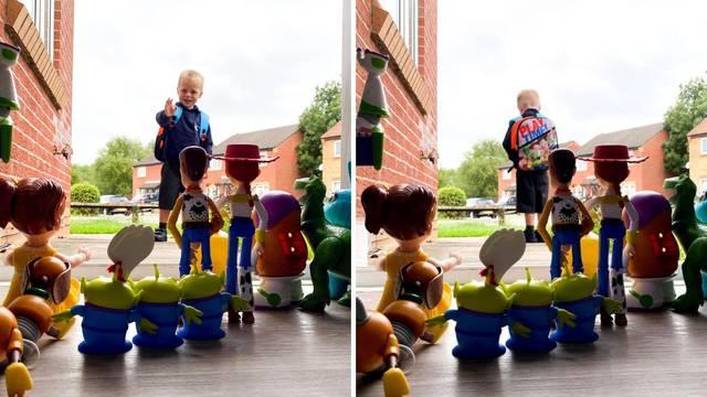 Tata rekreirao scenu iz crtića 'Priča o igračkama' kako bi ispratio sina na prvi dan škole