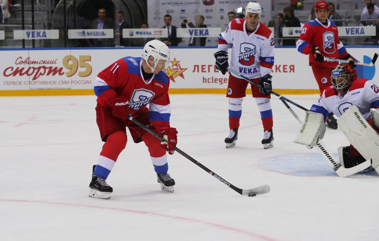 Russia's President Vladimir Putin attends a Night Hockey League match in Sochi