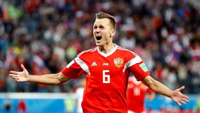 FILE PHOTO: Russia's Denis Cheryshev celebrates scoring their second goal against Egypt - Saint Petersburg Stadium, Russia - June 19, 2018.