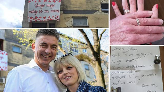 Razvio je transparent preko zgrade da zaprosi svoje 'janje'. Bila je brža i zaprosila njega