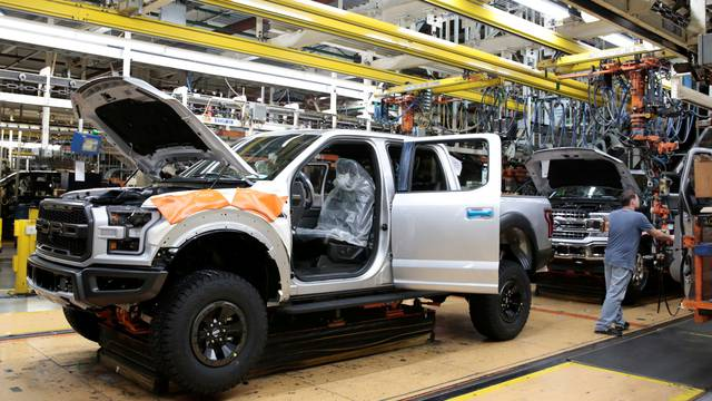 A Ford 2018 F150 pick-up truck moves down the assembly line at Ford's Dearborn Truck Plant during the 100-year celebration of the Ford River Rouge Complex in Dearborn