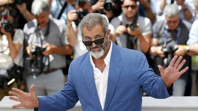 """Cast members Mel Gibson poses during a photocall for the film """"Blood Father"""" out of competition at the 69th Cannes Film Festival in Cannes"""