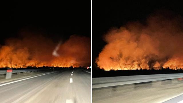 Požar uz autocestu kod Gospića: 'Vatra se širi nepristupačnim područjem, ostajemo cijelu noć'